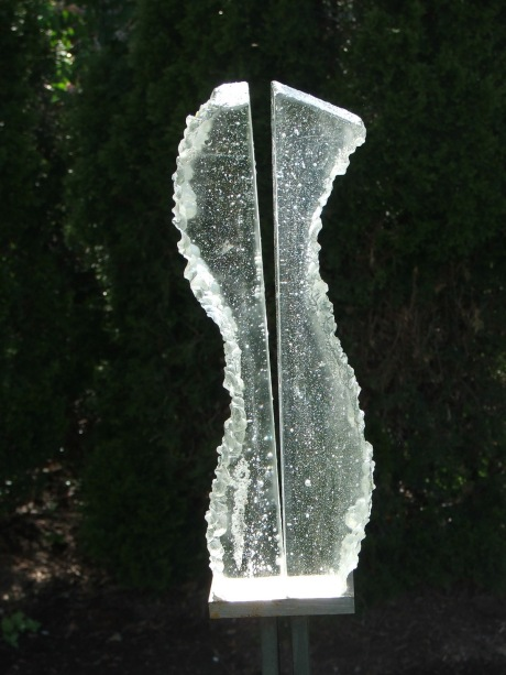 cast glass, steel